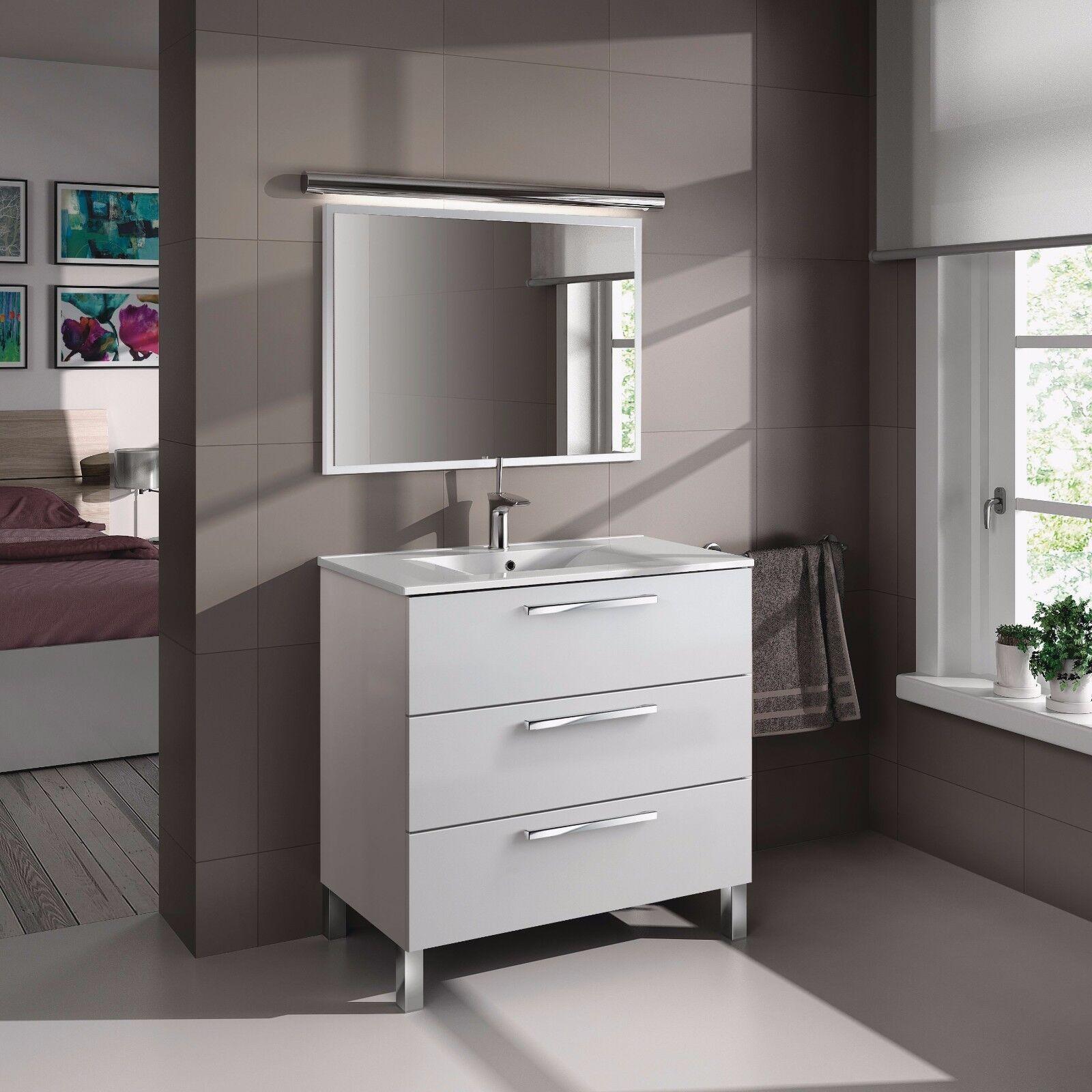 Mueble de baño o aseo con espejo y marco a juego blanco 80x86x45cm ...
