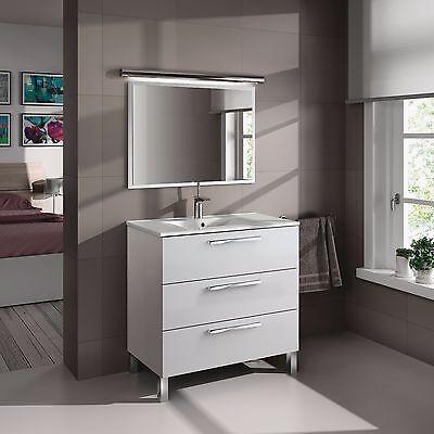 Mueble de baño o aseo con espejo y marco a juego blanco 80x86x45cm