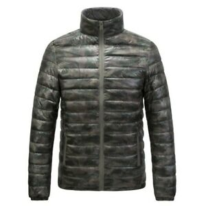 Winter-Mens-Lightweight-Duck-Down-Puffer-Jacket-Stand-Collar-Coat-Outdoor-Camo