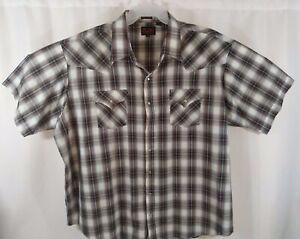 Plains-Western-Wear-Size-3XL-Plaid-Men-039-s-Short-Sleeve-Pearl-Snap-Shirt-BIG-MAN