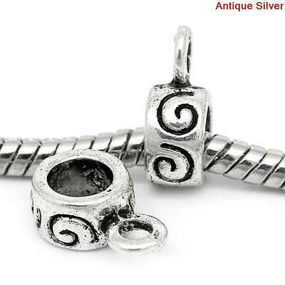 100pcs Antique Silver Spiral Bails Beads 12x8mm AVBeads