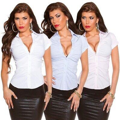 Kurzarm Bluse S M L XL weiss blau rosa Stretch Gerafft Tailliert Business Hemd