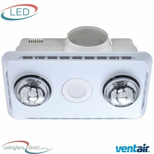 WHITE NEW! LED LIGHT AND EXHAUST FAN VENTAIR BROOK 2 BATHROOM 3 IN 1 HEAT