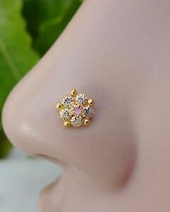 White Gold Nose Stud Nose Screw Nose Pin Nose Piercing White Gold Nose Jewelry White Gold Nose Ring Nose Stud Indian Nose Jewelry