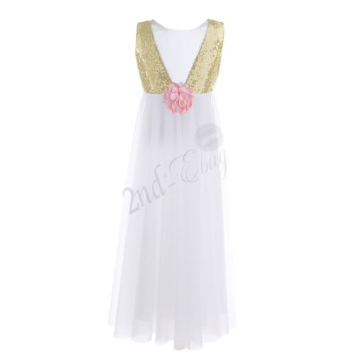 Communion Party Prom Princess Pageant Bridesmaid Wedding Flower Girl Dress Gown