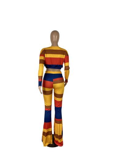 Women Long Sleeves Colors Patchwork Stripes Rib Bodycon Wide Legs Pants Set 2pc