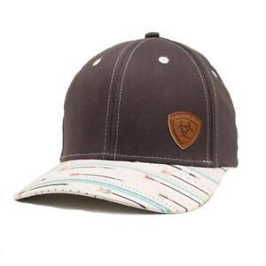 14167fe42b1 Ariat Womens Hat Baseball Cap Snap Back Arrows Leather Logo Grey ...