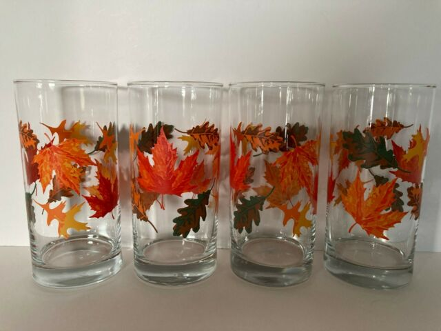 Vintage Libbey Crisa Autumn Leaves Pattern 16oz Tumbler Drinking Glasses