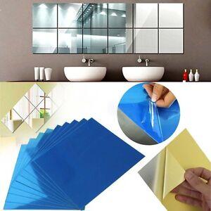 Uk 32x Mirror Tiles Self Adhesive Back Square Mosaic 01mm Bathroom