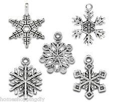 100 Mixed Silver Tone Christmas Snowflake Charm Pendants