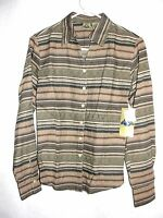Women's Shaver Lake Long Sleeve Brown Striped Tailored Blouse Top - Size M -