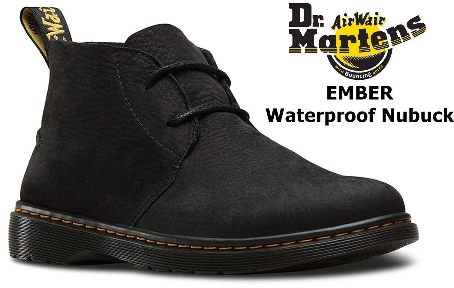 Dr Martens Mens Ember Black Slippery Waterproof Nubuck Leather Desert Boots