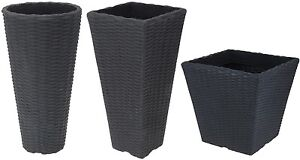 Round & Square Tall Rattan planters Rattan Pots Indoor & Outdoor Use 48cm High