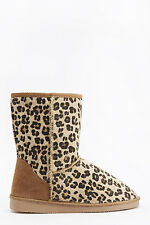 BNWT Ladies Leopard Print Contrast  Faux Fur Lined Ankle Boots Size 5