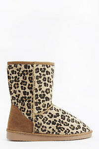BNWT-Ladies-Girls-Leopard-Print-Contrast-Faux-Fur-Lined-Ankle-Boots-Size-4