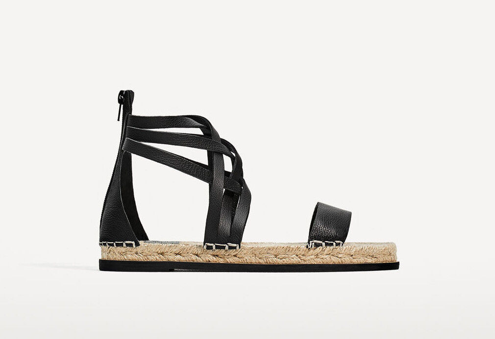 Zara Woman sandalias de cuero esparteñas con tiras Leather Straps Flat 38 39 40 41