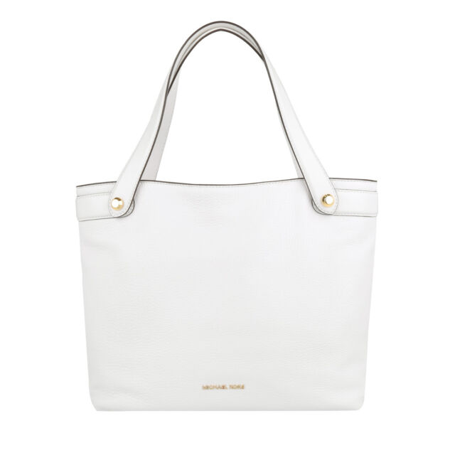 7a9d1ebb17d888 Michael Kors Hyland Pebbled Leather Medium Convertible Tote (Optic White)