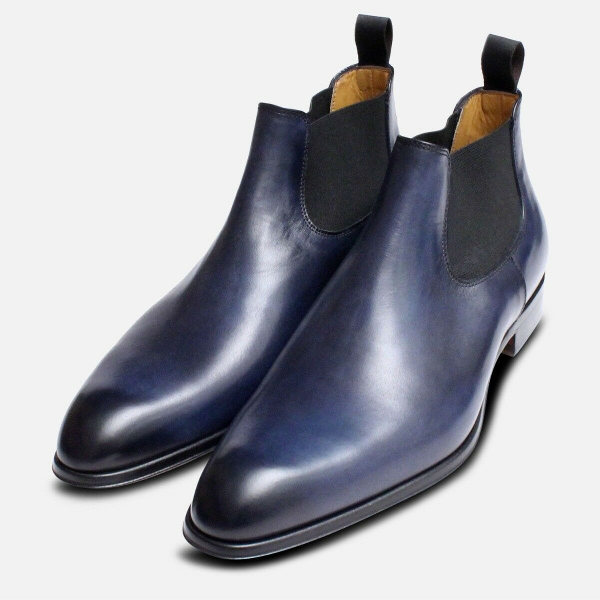 Mens Beatle Boots in Dark bluee Leather