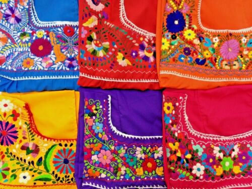 camicetta di della fatto Puebla messicano Colore dell'artigianato mano di a ricamata hippy contadino assortito 0nqn4PxS