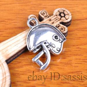 10pcs-23mm-charm-Silver-Football-Helmet-Pendant-Jewelry-Bracelet-Necklace-7366