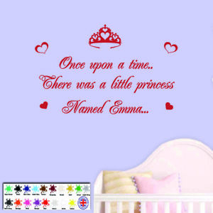 Image is loading Princess-wall-sticker-Personalised-Once-upon-a-time-  sc 1 st  eBay & Princess wall sticker - Personalised Once upon a time vinyl girls ...