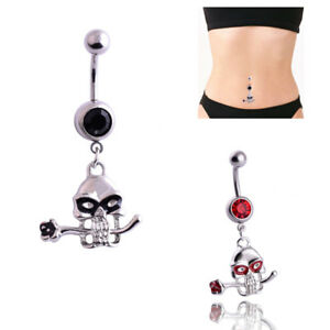 Crystal-Skull-Flower-Dangle-Navel-Belly-Button-Ring-Bar-Body-Piercing-Jewelry