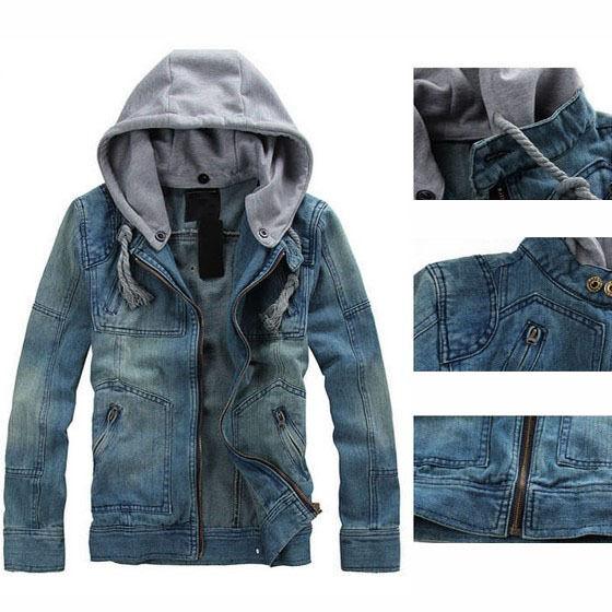 Fulinken Men VINTAGE CLASSIC Denim Hoodie Jean Jacket Zipper Coat Detachable Cap