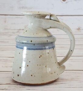 """Handmade Studio Art Pottery Kerosene Oil Lamp Ceramic Stoneware 4 1/2"""" Blue Trim"""