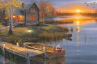 LED Lighted~Lake Cabin Canvas Wall Art w/Timer~Picture Lodge Decor 24