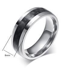 Simple Titanium Steel Black Carbon Fiber Rings Wedding Bands Size 7-13