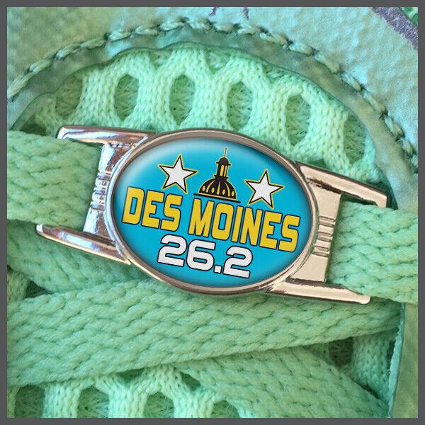 Des Moines 26.2 Marathon Runners Shoelace Shoe Charm or Zipper Pull