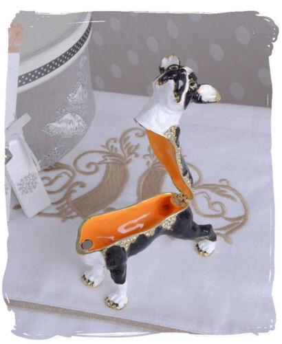Jewelry can of dog figure pillbox Boston Terrier dog jewelery box