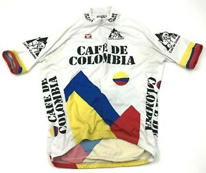 VINTAGE Cafe De Colombia Cycling Jersey Size XL Shirt Full Zip Short Sleeve Mens