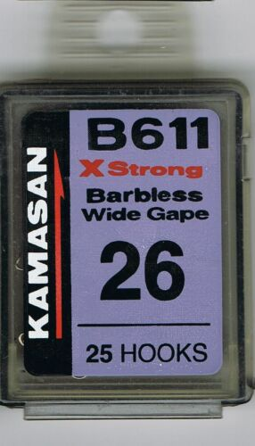 KAMASAN B611 X STRONG WIDE GAPE BARBLESS SPADE END HOOKS BOXES OF 25
