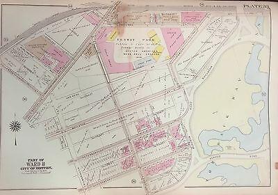 1917 FENWAY PARK BOSTON BROMLEY REPRODUCTION INSURANCE ATLAS MAP 23X32 MA