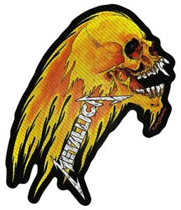 Metallica-Flaming-Skull-Cut-Out-Patch-Official-Metal-Rock-Band-Merch-New