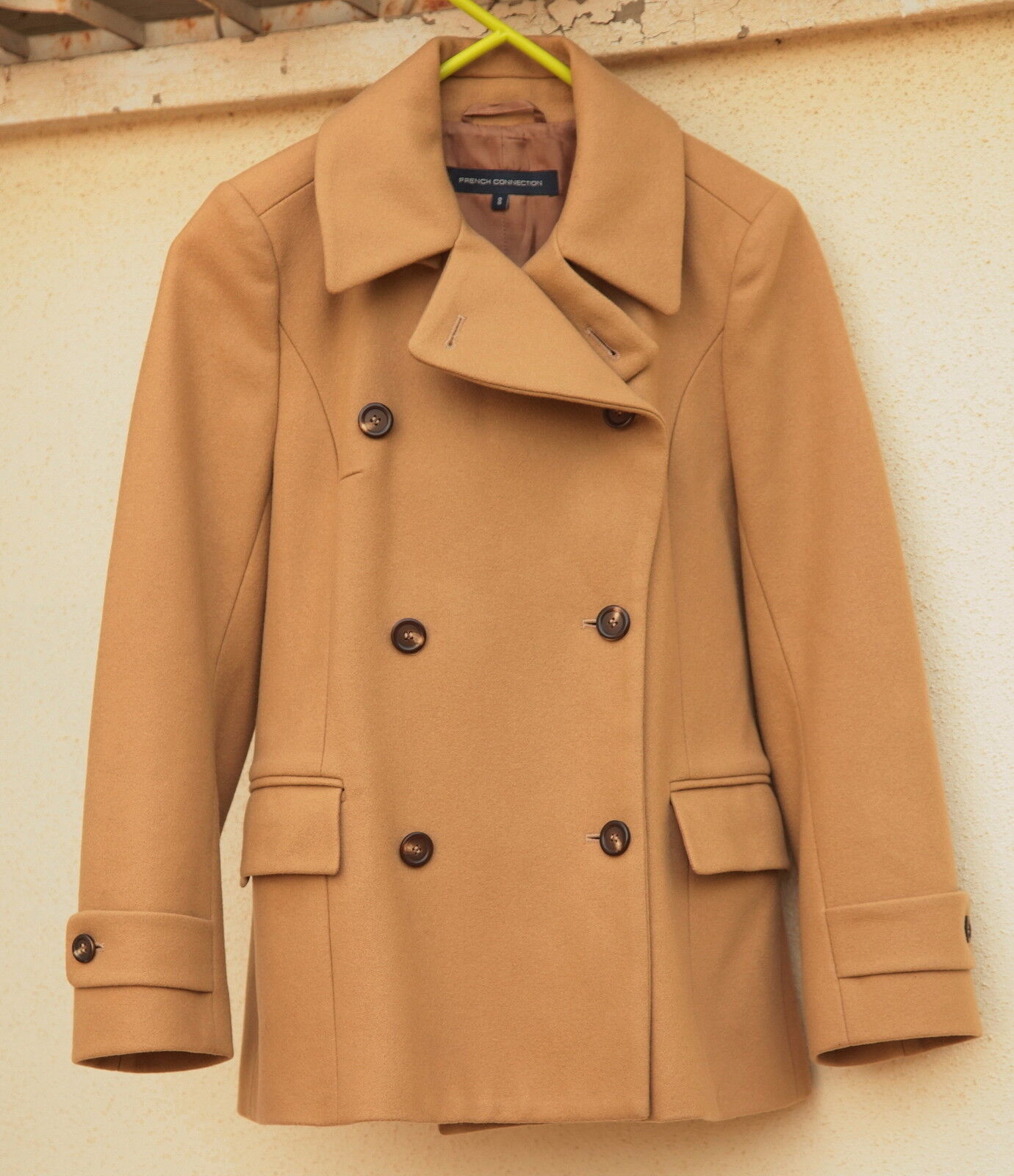 FRENCH CONNECTION Womens Double Breasted Wool Blend Lined Tan color Coat SIZE 8