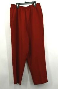 Alfred Dunner Womens Red Pull On Pants Elasticized Waist Side Seam Pockets 18