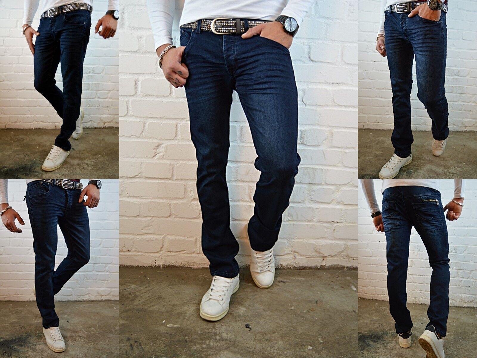 Uomo Base blu Young Destroyed Moda Taglio Diritto Aderente Jeans Pantaloni