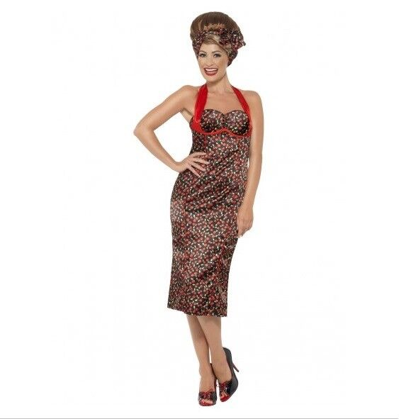 CHERRY RED PRINTED ROCKABILLY WOMENS COSTUME - MELBOURNE LOCATION
