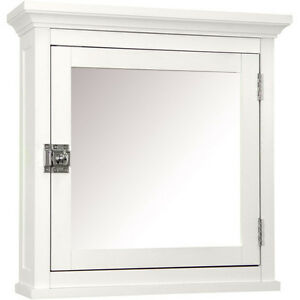 White Medicine Cabinet Bathroom Storage Mirror Wood Wall