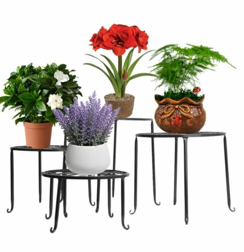 4pcs// 1 Set Flower Plant Stand Metal Rack Holder Garden Shelf Outdoor Indoor USA