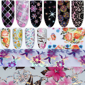 Nail-Foils-Transfer-Stickers-Decals-Holographic-Flower-Nail-Art-Starry-Paper-DIY