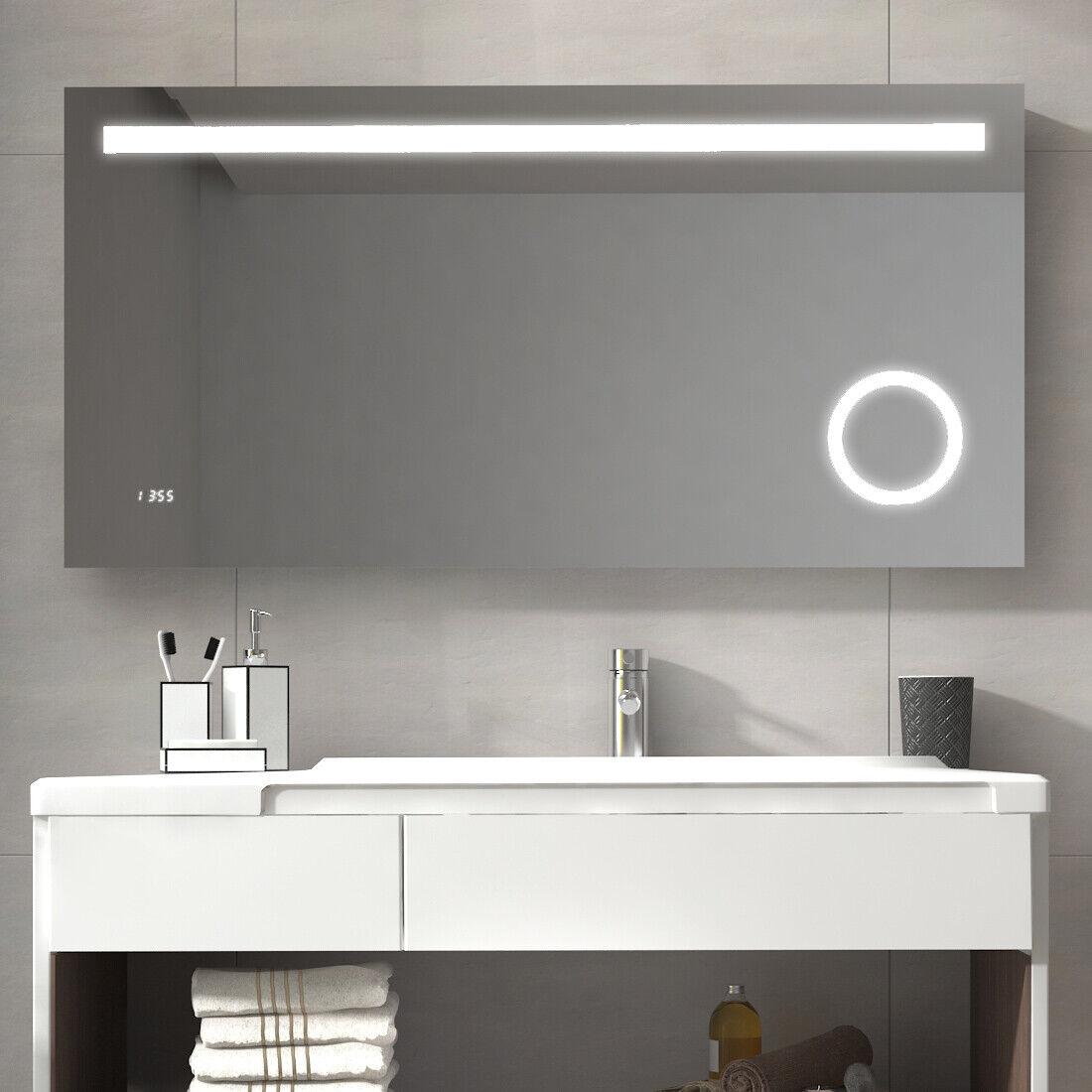 LED Badezimmerspiegel mit Beleuchtung 120x60 Badspiegel mit uhr, SCHMINKSPIEGEL