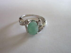 Sterling-Silver-Emerald-ring-Single-oval-cut-Emerald-925-silver-ring-size-7