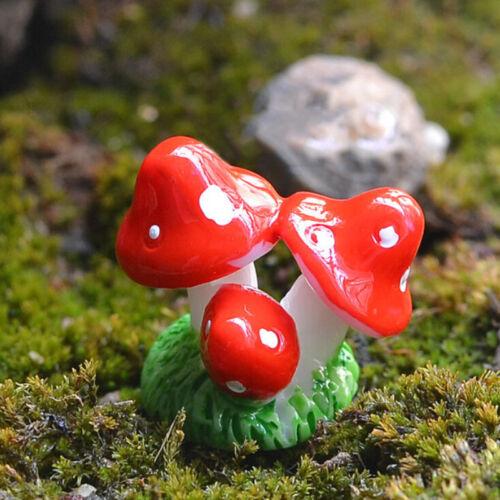 Mini Resin Mushroom  Garden Ornaments Gnomes Potted Plants Decoration RSVGCA