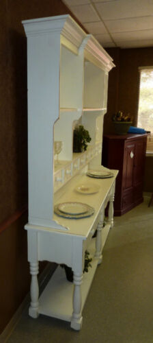USA Made a Classic Beaded Board Back Large Pine French Farmhouse Wide Hutch