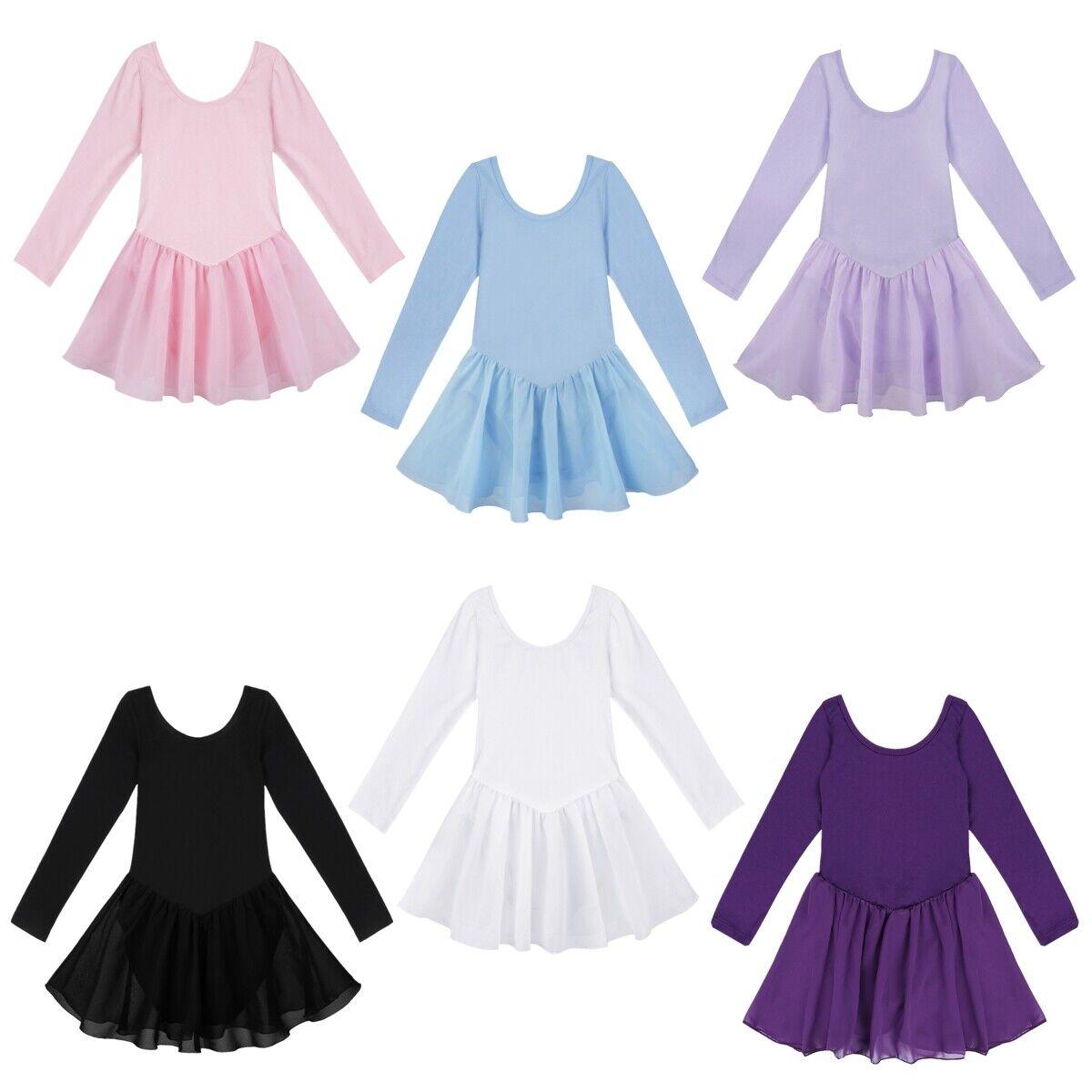 UK Kids Girls Ballet Dance Leotards Dress Bodysuit Gymnastics Jumpsuit Dancewear