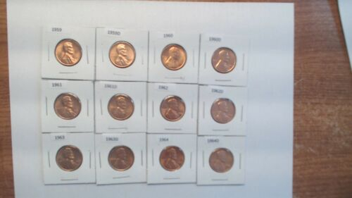 1959-1964 P/&D BU Red Lincoln Cent lot 12 coins