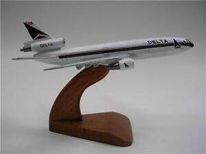 DC-10 Delta Airlines Douglas Airplane Mahogany Kiln Dry Wood Model Small New